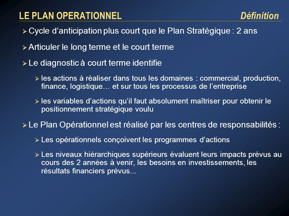 LE PLAN OPERATIONNEL Définition Cycle danticipation plus court que le Plan Stratégique : 2 ans Articuler le long terme et le court terme Le diagnostic