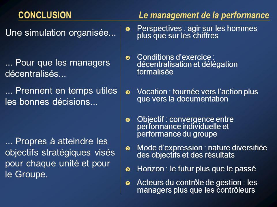 CONCLUSION Le management de la performance Perspectives : agir sur les hommes plus que sur les chiffres Une simulation organisée...... Pour que les ma