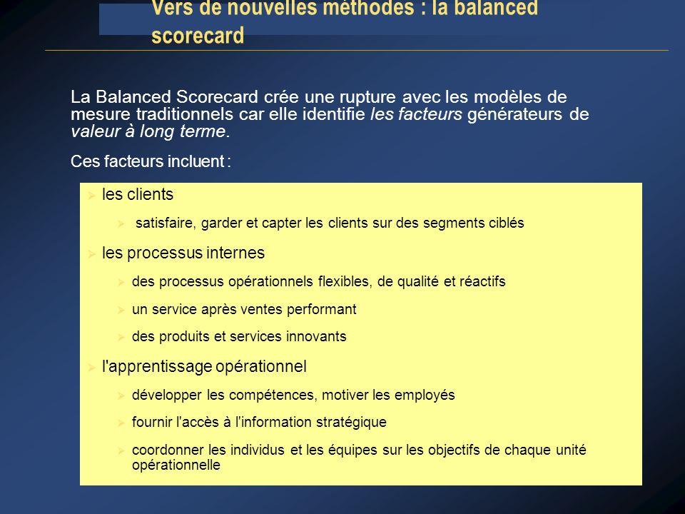 La Balanced Scorecard crée une rupture avec les modèles de mesure traditionnels car elle identifie les facteurs générateurs de valeur à long terme. Ce