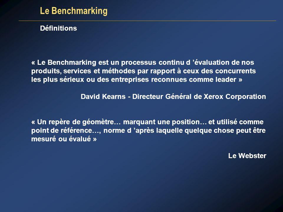 Le Benchmarking « Le Benchmarking est un processus continu d évaluation de nos produits, services et méthodes par rapport à ceux des concurrents les p