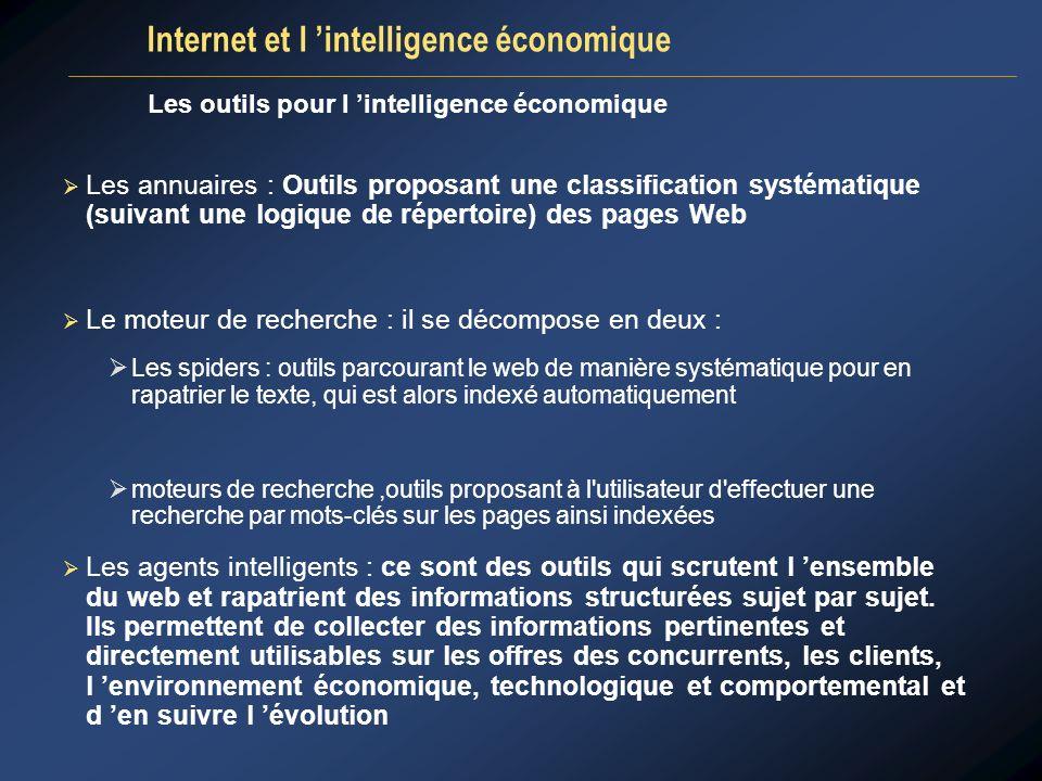 Les outils pour l intelligence économique Les annuaires : Outils proposant une classification systématique (suivant une logique de répertoire) des pag