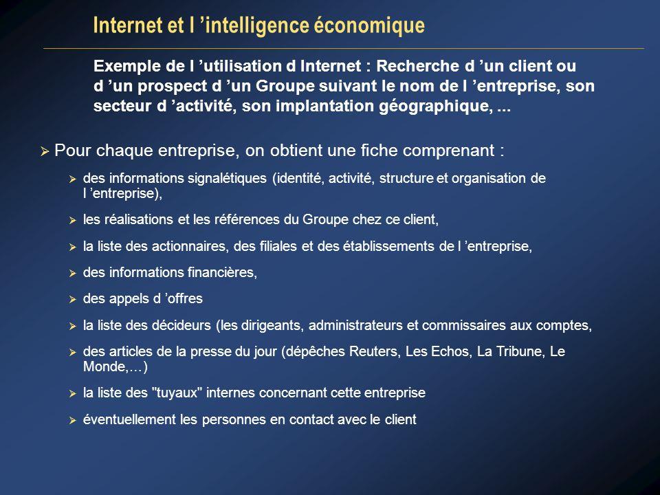 Exemple de l utilisation d Internet : Recherche d un client ou d un prospect d un Groupe suivant le nom de l entreprise, son secteur d activité, son i