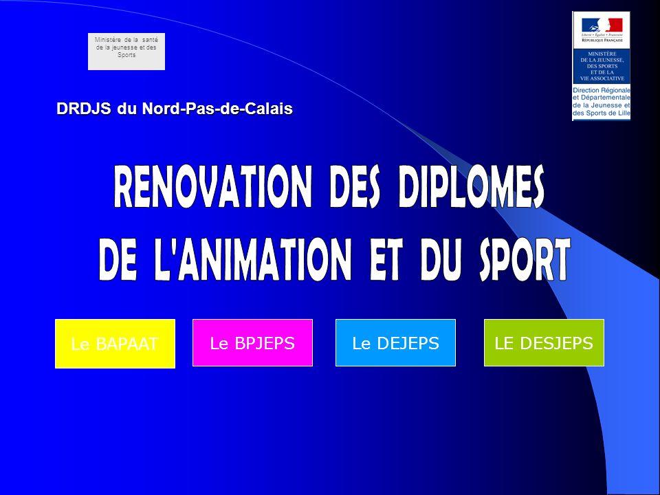 DRDJS du Nord-Pas-de-Calais Le DEJEPSLE DESJEPSLe BPJEPS Le BAPAAT Ministère de la santé de la jeunesse et des Sports