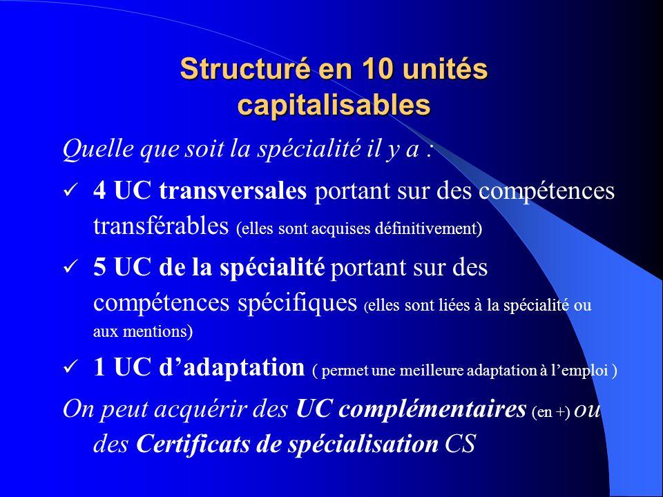 Structuré en 10 unités capitalisables Quelle que soit la spécialité il y a : 4 UC transversales portant sur des compétences transférables (elles sont