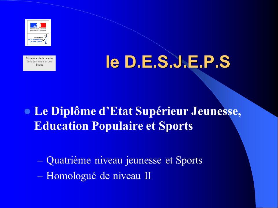 le D.E.S.J.E.P.S Le Diplôme dEtat Supérieur Jeunesse, Education Populaire et Sports – Quatrième niveau jeunesse et Sports – Homologué de niveau II Min