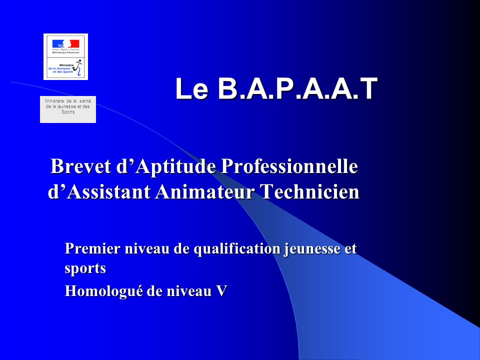 Le B.A.P.A.A.T Brevet dAptitude Professionnelle dAssistant Animateur Technicien Premier niveau de qualification jeunesse et sports Homologué de niveau