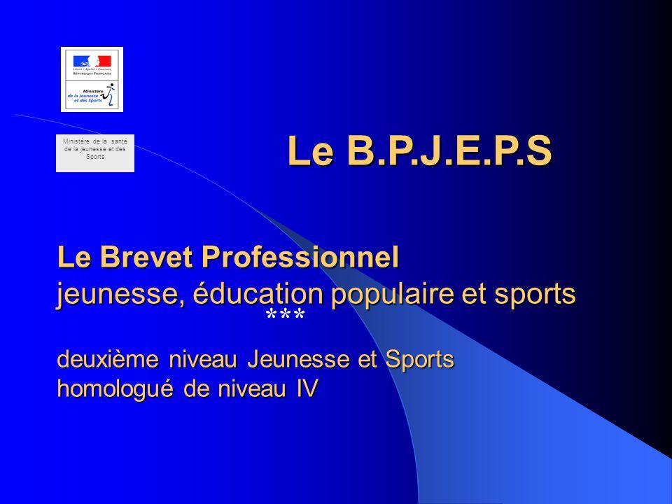 Le Brevet Professionnel jeunesse, éducation populaire et sports deuxième niveau Jeunesse et Sports homologué de niveau IV *** Ministère de la santé de
