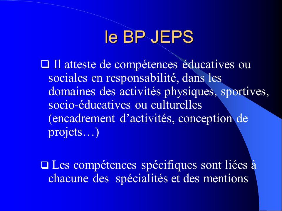 le BP JEPS Il atteste de compétences éducatives ou sociales en responsabilité, dans les domaines des activités physiques, sportives, socio-éducatives