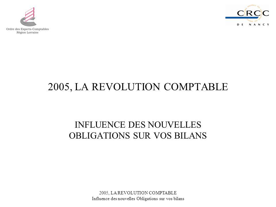 2005, LA REVOLUTION COMPTABLE Influence des nouvelles Obligations sur vos bilans 2005, LA REVOLUTION COMPTABLE INFLUENCE DES NOUVELLES OBLIGATIONS SUR