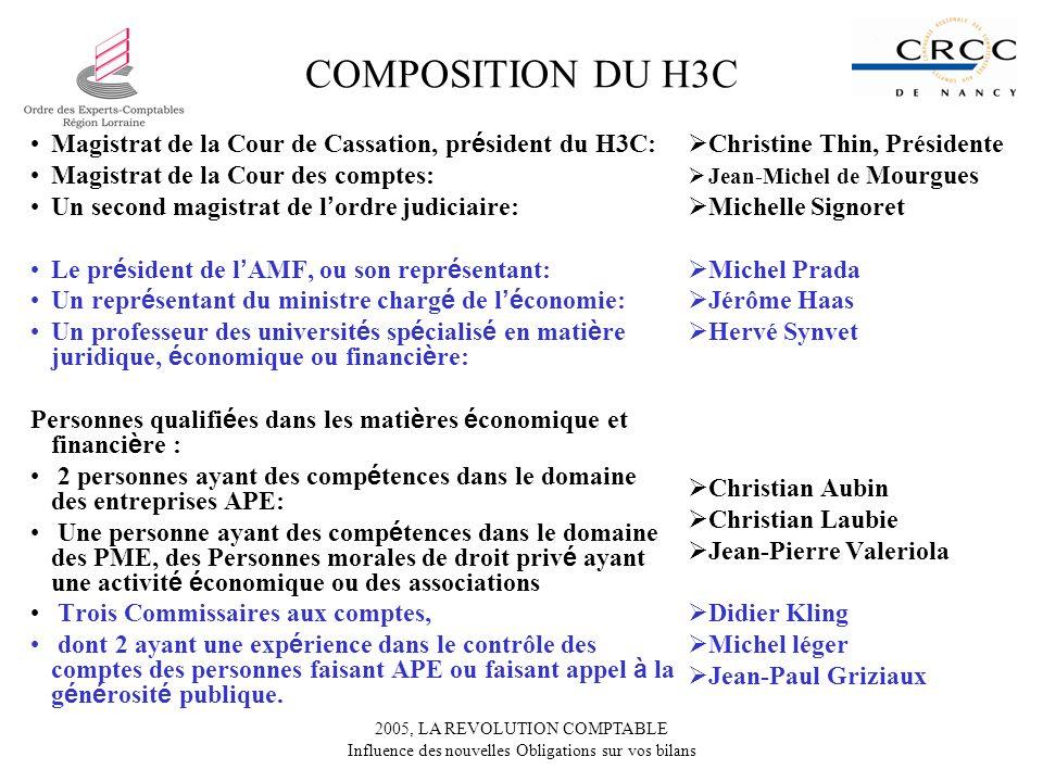 2005, LA REVOLUTION COMPTABLE Influence des nouvelles Obligations sur vos bilans COMPOSITION DU H3C Magistrat de la Cour de Cassation, pr é sident du