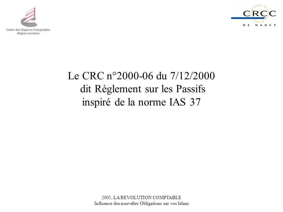 2005, LA REVOLUTION COMPTABLE Influence des nouvelles Obligations sur vos bilans Le CRC n°2000-06 du 7/12/2000 dit Règlement sur les Passifs inspiré de la norme IAS 37