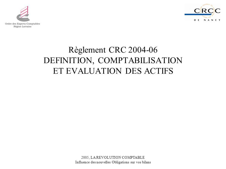 2005, LA REVOLUTION COMPTABLE Influence des nouvelles Obligations sur vos bilans Règlement CRC 2004-06 DEFINITION, COMPTABILISATION ET EVALUATION DES
