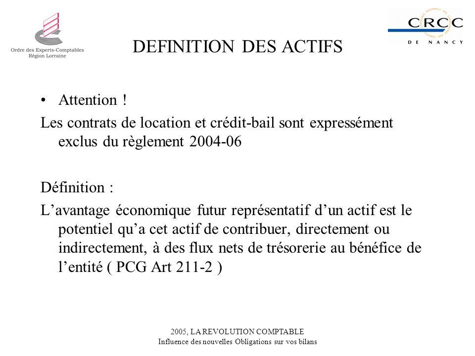 2005, LA REVOLUTION COMPTABLE Influence des nouvelles Obligations sur vos bilans DEFINITION DES ACTIFS Attention ! Les contrats de location et crédit-