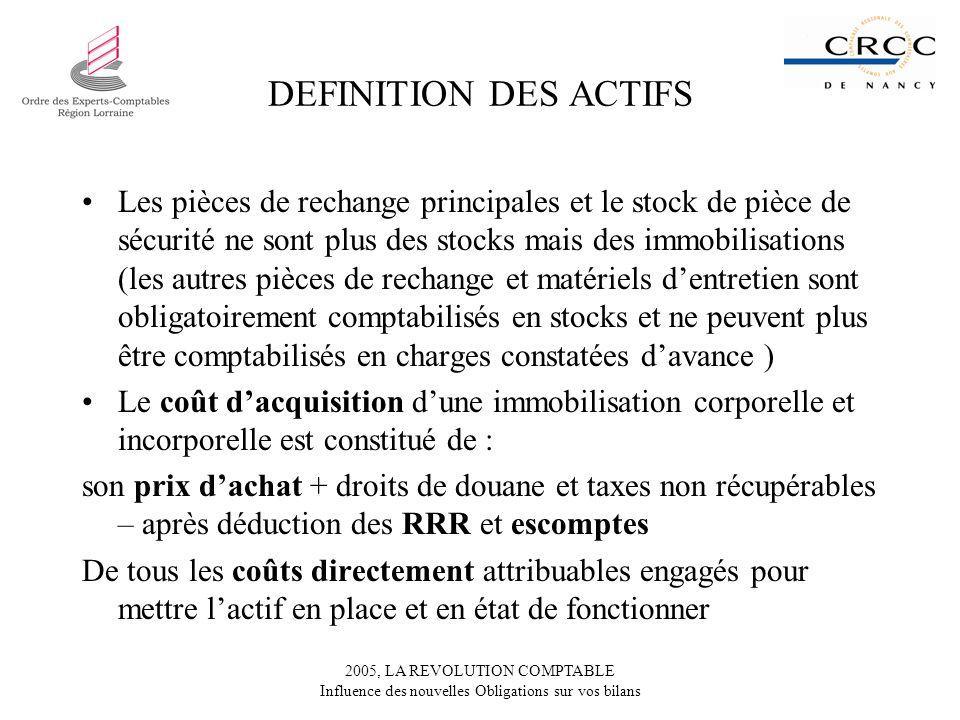 2005, LA REVOLUTION COMPTABLE Influence des nouvelles Obligations sur vos bilans DEFINITION DES ACTIFS Les pièces de rechange principales et le stock