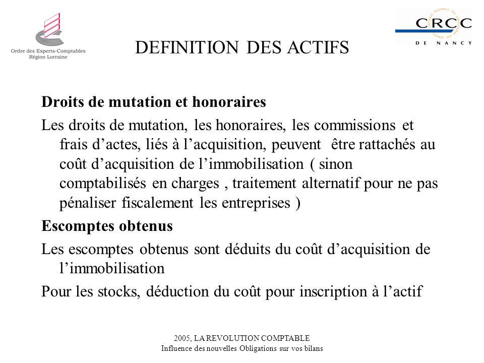 2005, LA REVOLUTION COMPTABLE Influence des nouvelles Obligations sur vos bilans DEFINITION DES ACTIFS Droits de mutation et honoraires Les droits de