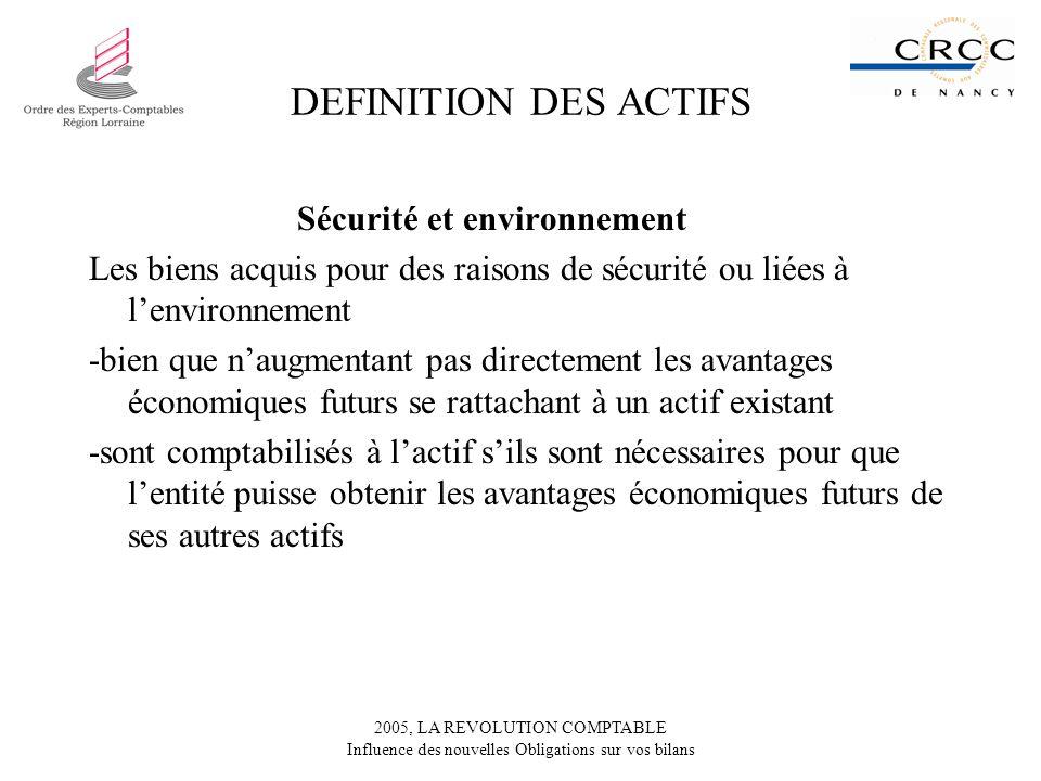 2005, LA REVOLUTION COMPTABLE Influence des nouvelles Obligations sur vos bilans DEFINITION DES ACTIFS Sécurité et environnement Les biens acquis pour