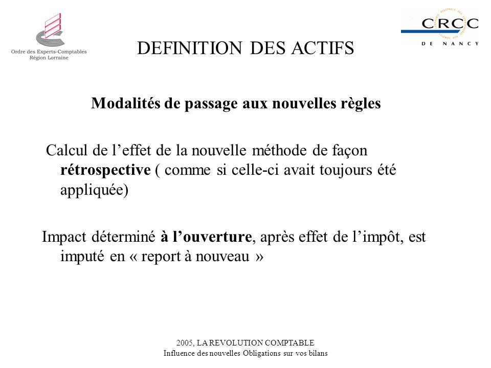2005, LA REVOLUTION COMPTABLE Influence des nouvelles Obligations sur vos bilans DEFINITION DES ACTIFS Modalités de passage aux nouvelles règles Calcu