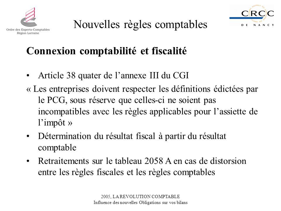 2005, LA REVOLUTION COMPTABLE Influence des nouvelles Obligations sur vos bilans Nouvelles règles comptables Connexion comptabilité et fiscalité Artic