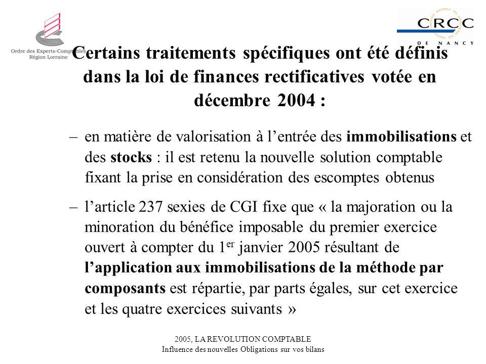 2005, LA REVOLUTION COMPTABLE Influence des nouvelles Obligations sur vos bilans Certains traitements spécifiques ont été définis dans la loi de finan