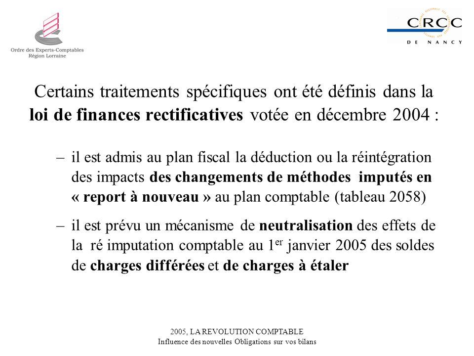 2005, LA REVOLUTION COMPTABLE Influence des nouvelles Obligations sur vos bilans Certains traitements spécifiques ont été définis dans la loi de finances rectificatives votée en décembre 2004 : –il est admis au plan fiscal la déduction ou la réintégration des impacts des changements de méthodes imputés en « report à nouveau » au plan comptable (tableau 2058) –il est prévu un mécanisme de neutralisation des effets de la ré imputation comptable au 1 er janvier 2005 des soldes de charges différées et de charges à étaler