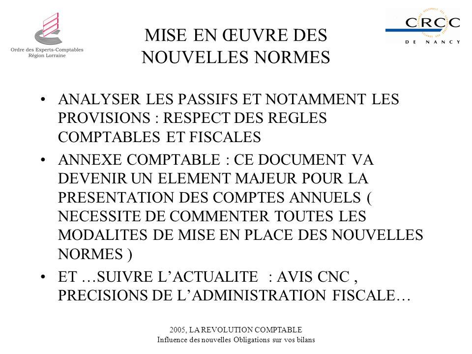 2005, LA REVOLUTION COMPTABLE Influence des nouvelles Obligations sur vos bilans MISE EN ŒUVRE DES NOUVELLES NORMES ANALYSER LES PASSIFS ET NOTAMMENT LES PROVISIONS : RESPECT DES REGLES COMPTABLES ET FISCALES ANNEXE COMPTABLE : CE DOCUMENT VA DEVENIR UN ELEMENT MAJEUR POUR LA PRESENTATION DES COMPTES ANNUELS ( NECESSITE DE COMMENTER TOUTES LES MODALITES DE MISE EN PLACE DES NOUVELLES NORMES ) ET …SUIVRE LACTUALITE : AVIS CNC, PRECISIONS DE LADMINISTRATION FISCALE…