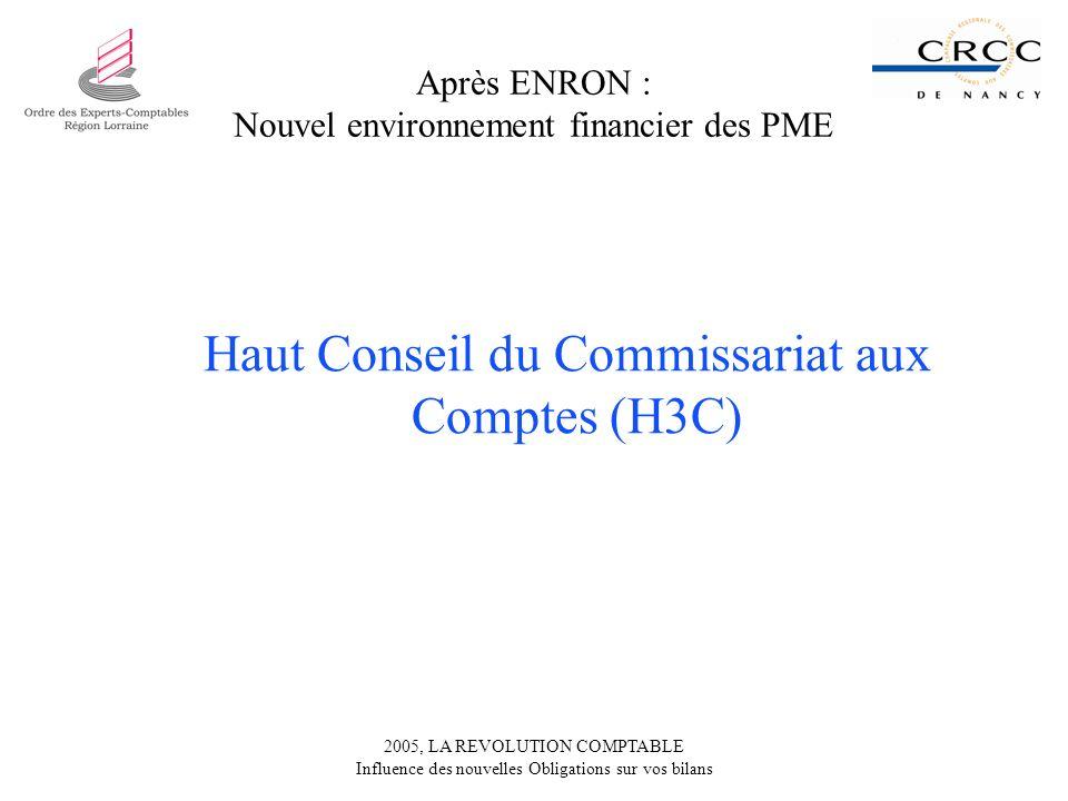 2005, LA REVOLUTION COMPTABLE Influence des nouvelles Obligations sur vos bilans Après ENRON : Nouvel environnement financier des PME Haut Conseil du Commissariat aux Comptes (H3C)