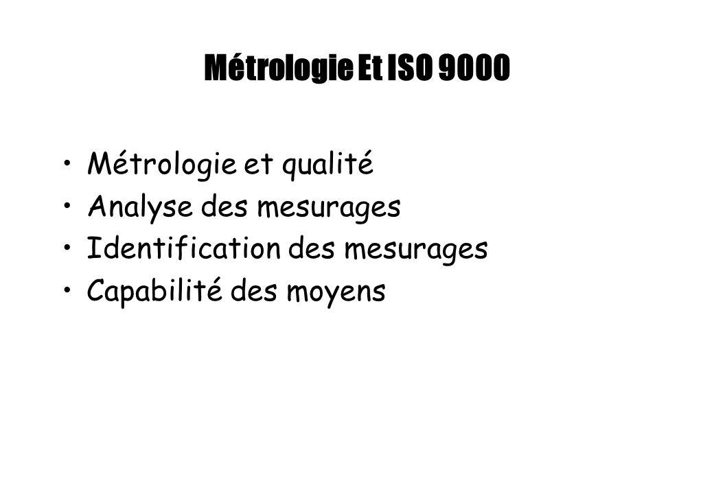 Métrologie Et ISO 9000 Métrologie et qualité Analyse des mesurages Identification des mesurages Capabilité des moyens