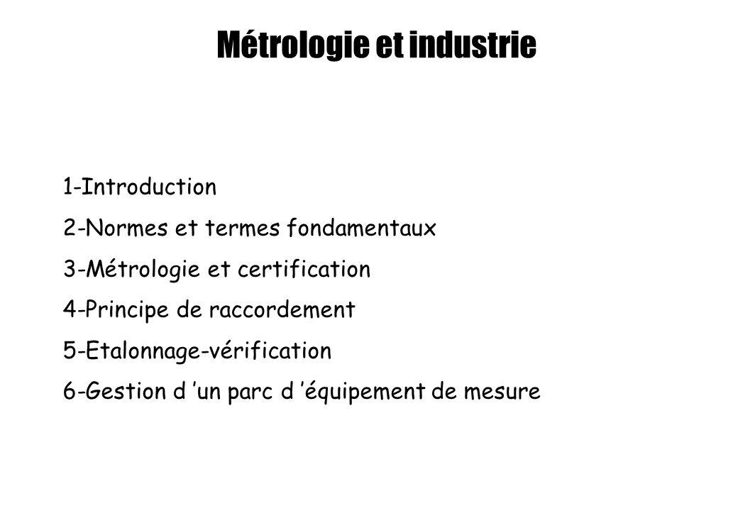 Métrologie et industrie 1-Introduction 2-Normes et termes fondamentaux 3-Métrologie et certification 4-Principe de raccordement 5-Etalonnage-vérificat