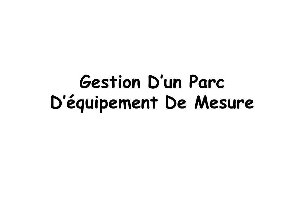 Gestion Dun Parc Déquipement De Mesure