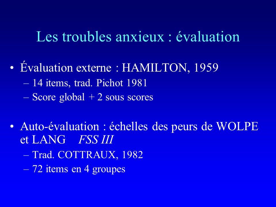 Lanxiété sociale : évaluation auto-évaluation : échelle dAffirmation de Soi de RATHUS, 1973 –30 items –Score entre –90 et + 90 Évaluation externe : jeux de rôle