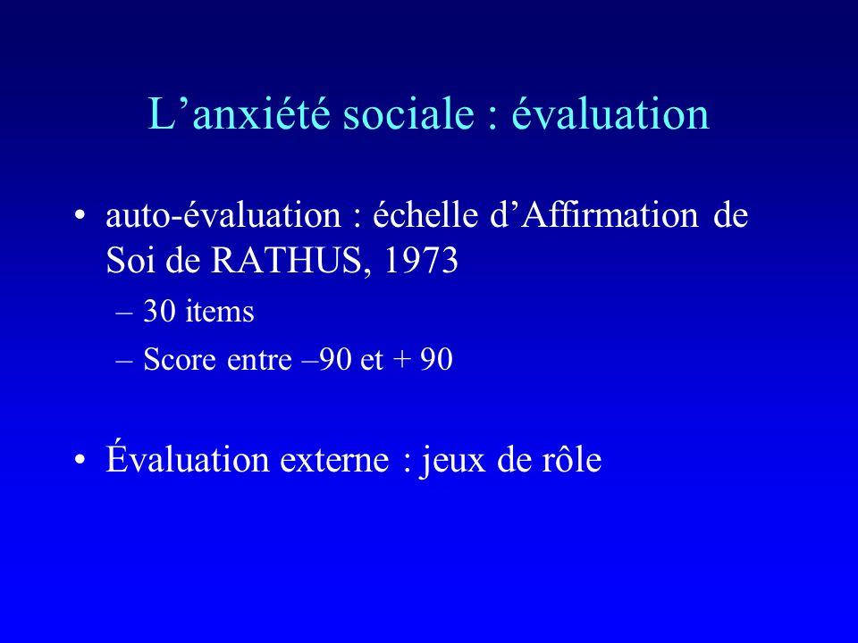 Les troubles anxieux : objectif de la thérapie choix du comportement problème comportements annexes