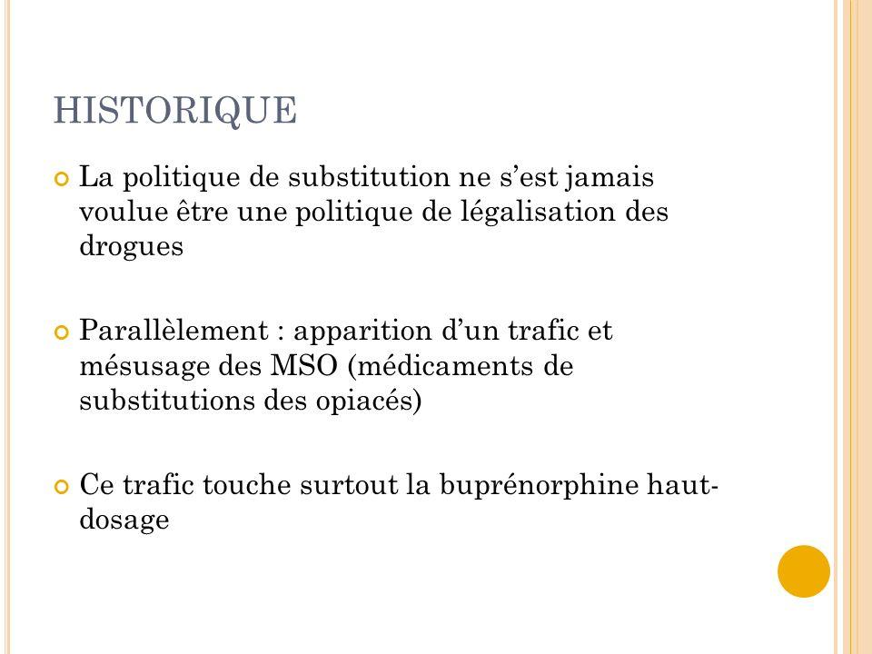 HISTORIQUE La politique de substitution ne sest jamais voulue être une politique de légalisation des drogues Parallèlement : apparition dun trafic et