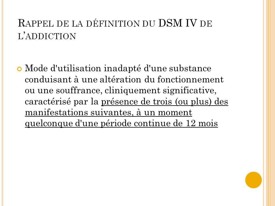 R APPEL DE LA DÉFINITION DU DSM IV DE L ADDICTION Mode d'utilisation inadapté d'une substance conduisant à une altération du fonctionnement ou une sou
