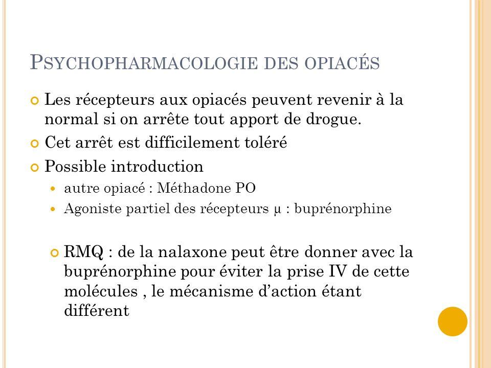 P SYCHOPHARMACOLOGIE DES OPIACÉS Les récepteurs aux opiacés peuvent revenir à la normal si on arrête tout apport de drogue. Cet arrêt est difficilemen