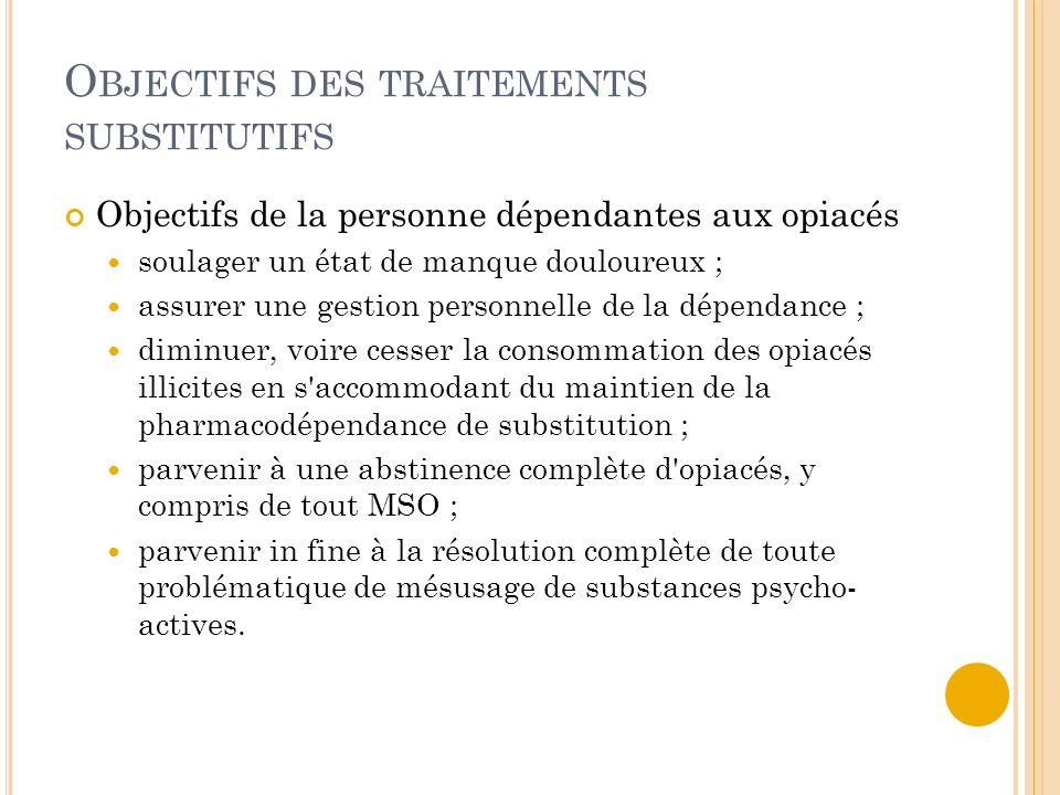 O BJECTIFS DES TRAITEMENTS SUBSTITUTIFS Objectifs de la personne dépendantes aux opiacés soulager un état de manque douloureux ; assurer une gestion p