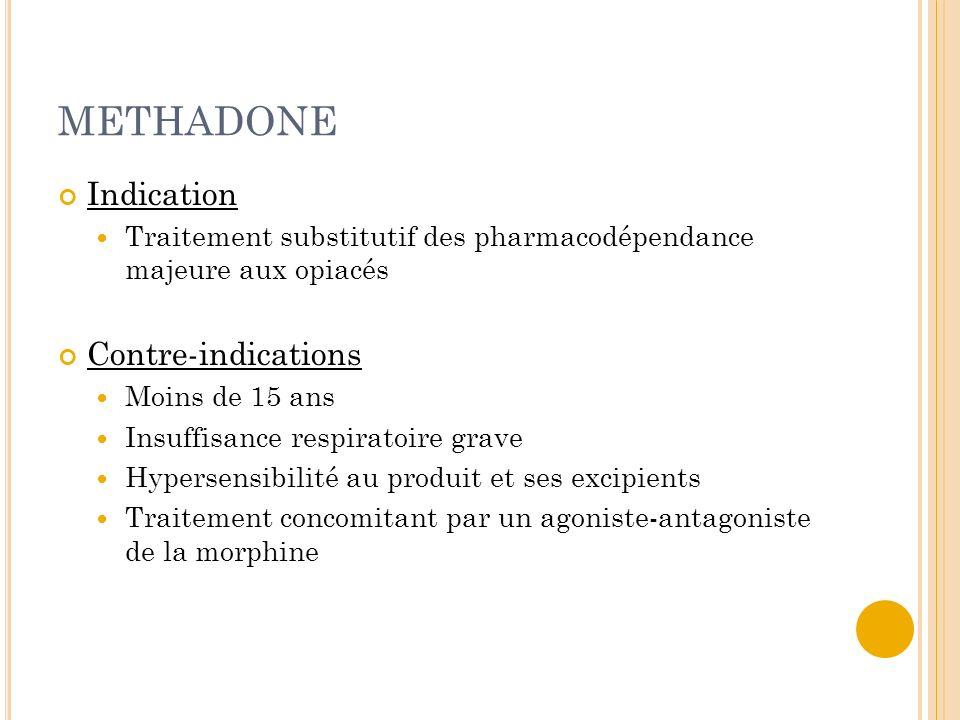 METHADONE Indication Traitement substitutif des pharmacodépendance majeure aux opiacés Contre-indications Moins de 15 ans Insuffisance respiratoire gr