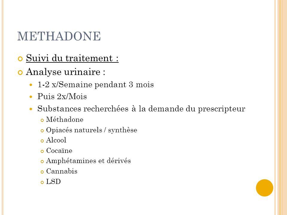 METHADONE Suivi du traitement : Analyse urinaire : 1-2 x/Semaine pendant 3 mois Puis 2x/Mois Substances recherchées à la demande du prescripteur Métha