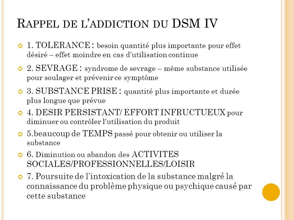 R APPEL DE L ADDICTION DU DSM IV 1. TOLERANCE : besoin quantité plus importante pour effet désiré – effet moindre en cas dutilisation continue 2. SEVR