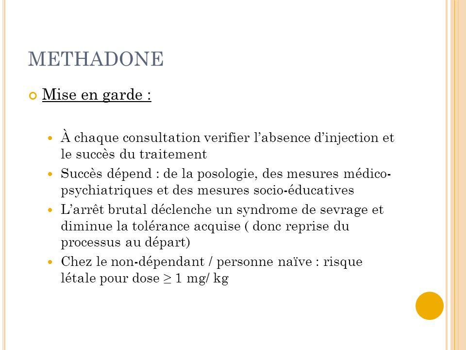 METHADONE Mise en garde : À chaque consultation verifier labsence dinjection et le succès du traitement Succès dépend : de la posologie, des mesures m