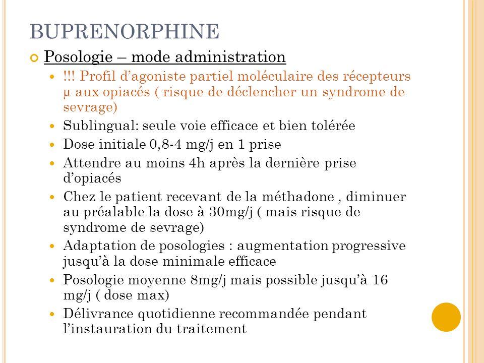 BUPRENORPHINE Posologie – mode administration !!! Profil dagoniste partiel moléculaire des récepteurs µ aux opiacés ( risque de déclencher un syndrome