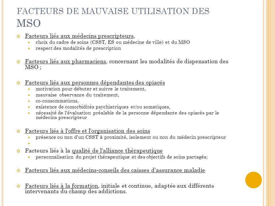 FACTEURS DE MAUVAISE UTILISATION DES MSO Facteurs liés aux médecins prescripteurs, choix du cadre de soins (CSST, ES ou médecine de ville) et du MSO r