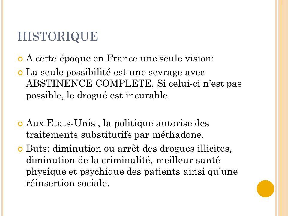 HISTORIQUE A cette époque en France une seule vision: La seule possibilité est une sevrage avec ABSTINENCE COMPLETE. Si celui-ci nest pas possible, le