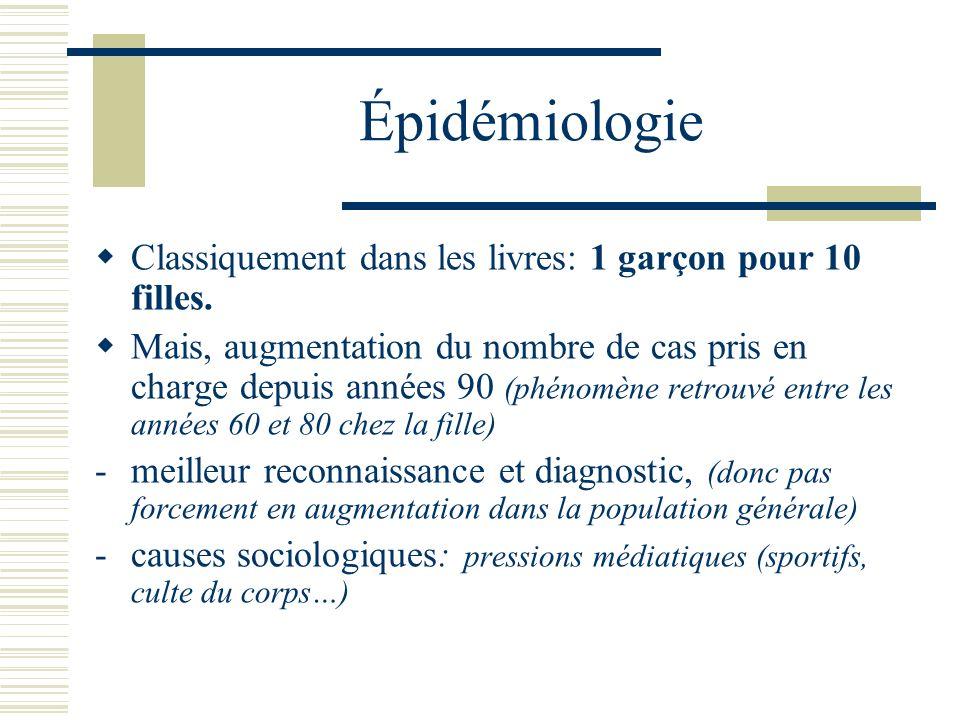 Épidémiologie Classiquement dans les livres: 1 garçon pour 10 filles. Mais, augmentation du nombre de cas pris en charge depuis années 90 (phénomène r