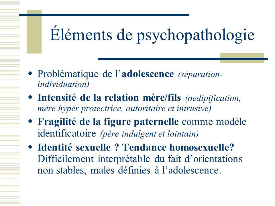 Éléments de psychopathologie Problématique de ladolescence (séparation- individuation) Intensité de la relation mère/fils (oedipification, mère hyper