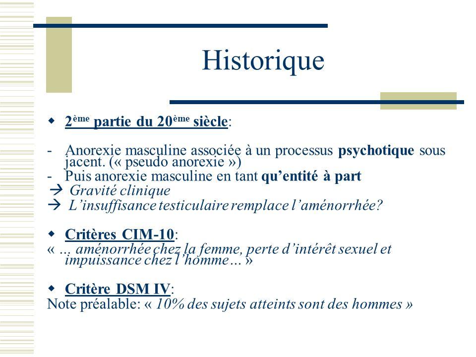 Historique 2 ème partie du 20 ème siècle: -Anorexie masculine associée à un processus psychotique sous jacent. (« pseudo anorexie ») -Puis anorexie ma