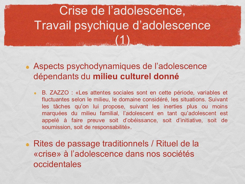 Crise de ladolescence, Travail psychique dadolescence (1) Aspects psychodynamiques de ladolescence dépendants du milieu culturel donné B. ZAZZO : «Les