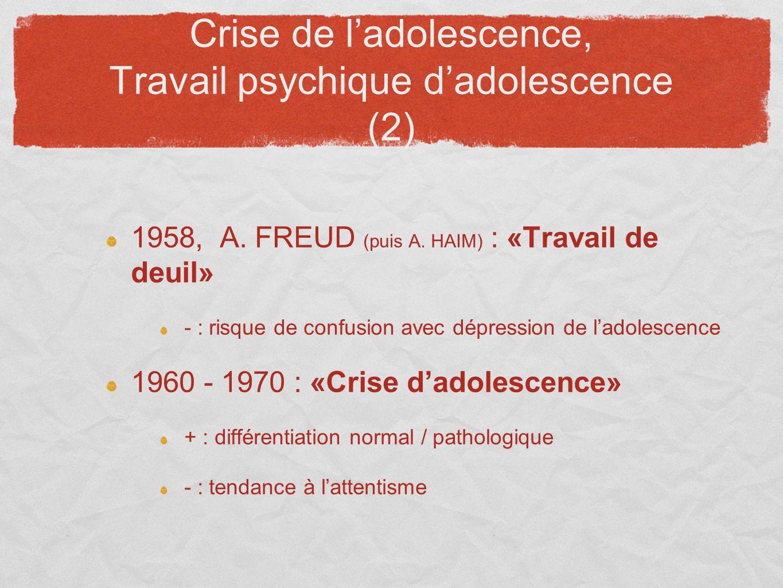 Crise de ladolescence, Travail psychique dadolescence (2) 1958, A. FREUD (puis A. HAIM) : «Travail de deuil» - : risque de confusion avec dépression d
