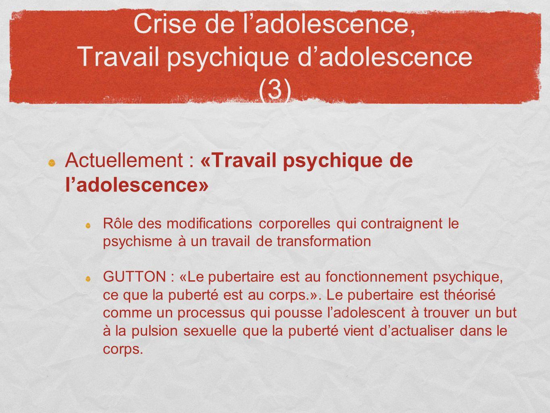 Crise de ladolescence, Travail psychique dadolescence (3) Actuellement : «Travail psychique de ladolescence» Rôle des modifications corporelles qui co