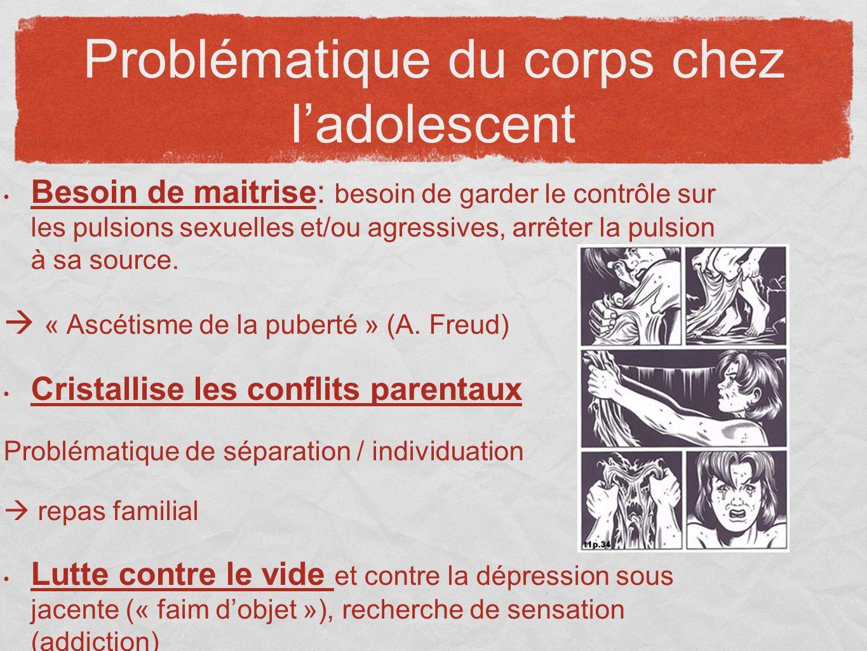 Besoin de maitrise: besoin de garder le contrôle sur les pulsions sexuelles et/ou agressives, arrêter la pulsion à sa source. « Ascétisme de la pubert