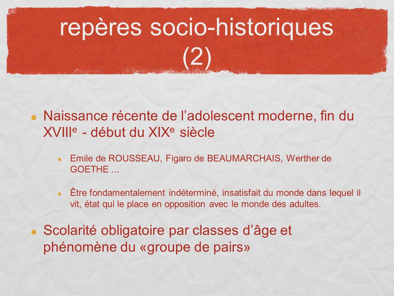 repères socio-historiques (2) Naissance récente de ladolescent moderne, fin du XVIII e - début du XIX e siècle Emile de ROUSSEAU, Figaro de BEAUMARCHA